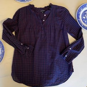J. Crew Navy and Red Plaid Flowy Top 2